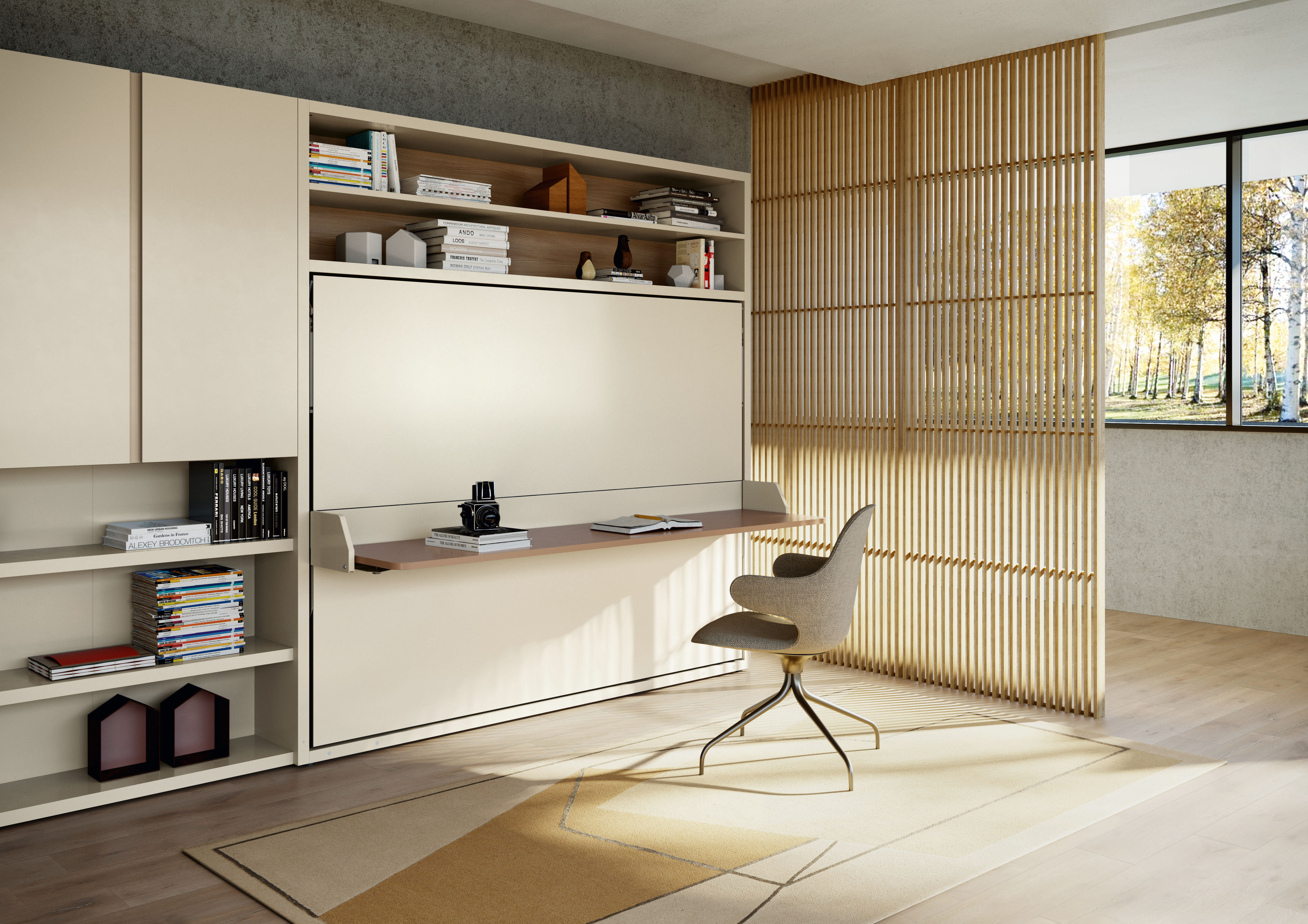 Horizontal Double Murphy Bed With Desk And Bookcase Circe Board Clei
