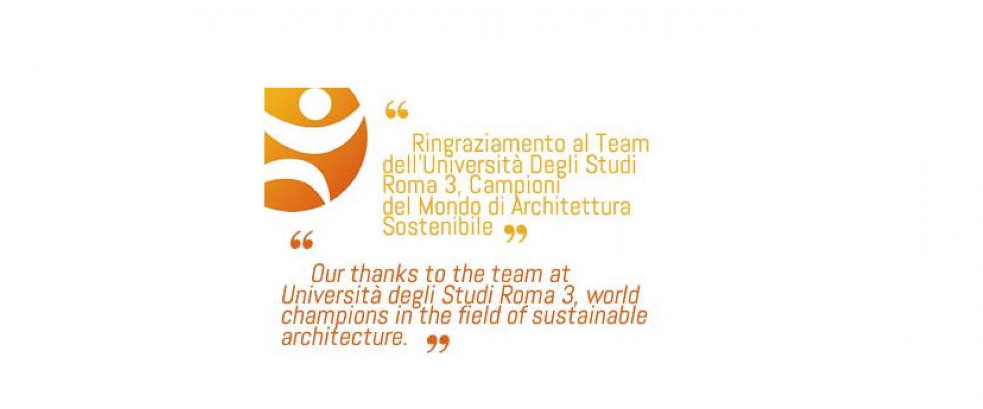 Ringraziamento al team dell 39 universit degli studi roma 3 for Studi di architettura roma