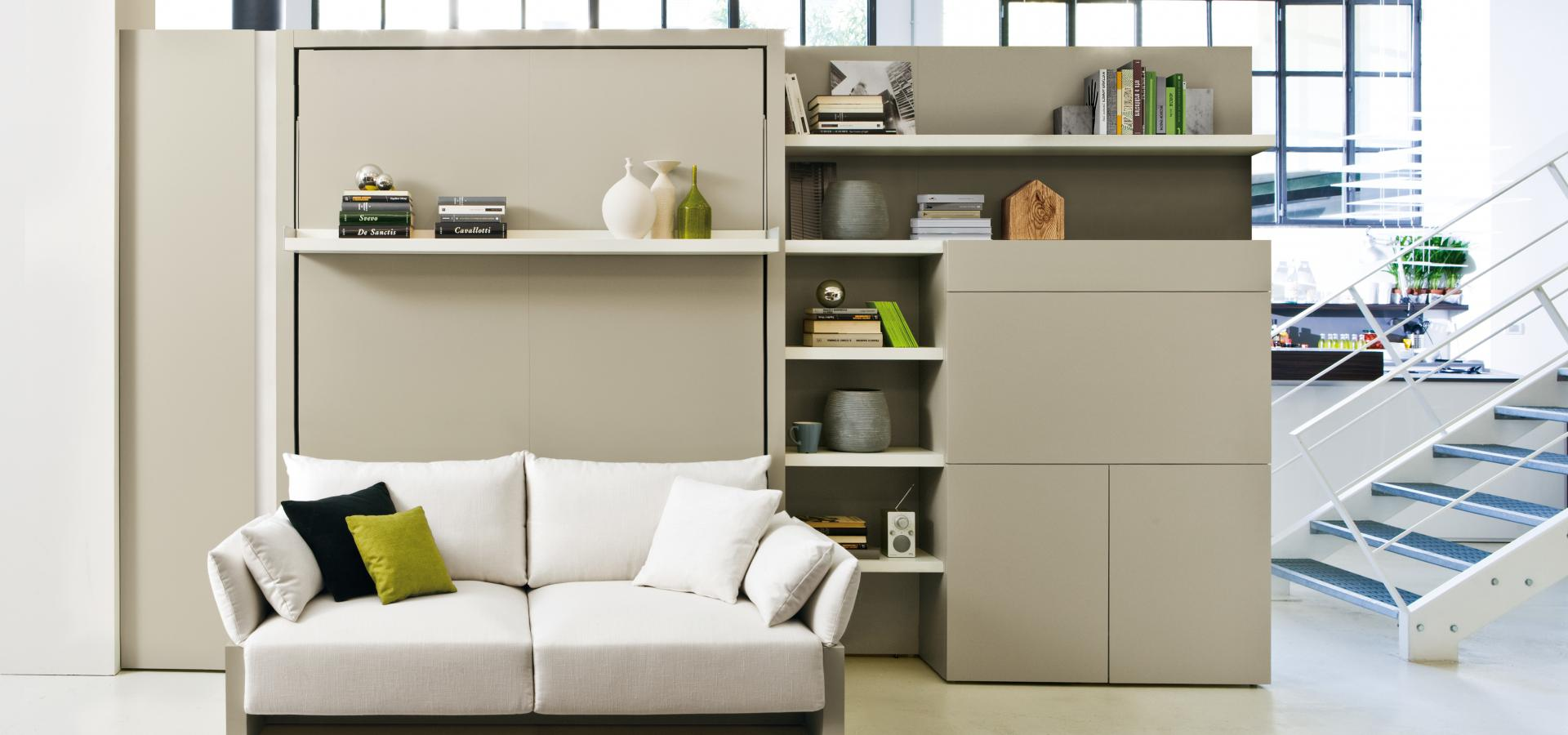 Tilting Double Bed And Sofa With Storage Compartment And Bookshelf Nuovoliola 10 Clei