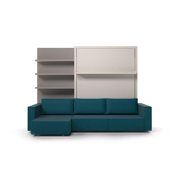 Swing transformable sofa with bookcase