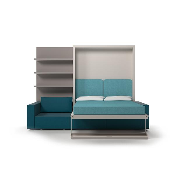Swing transformable sofa with vertical bed and bookcase