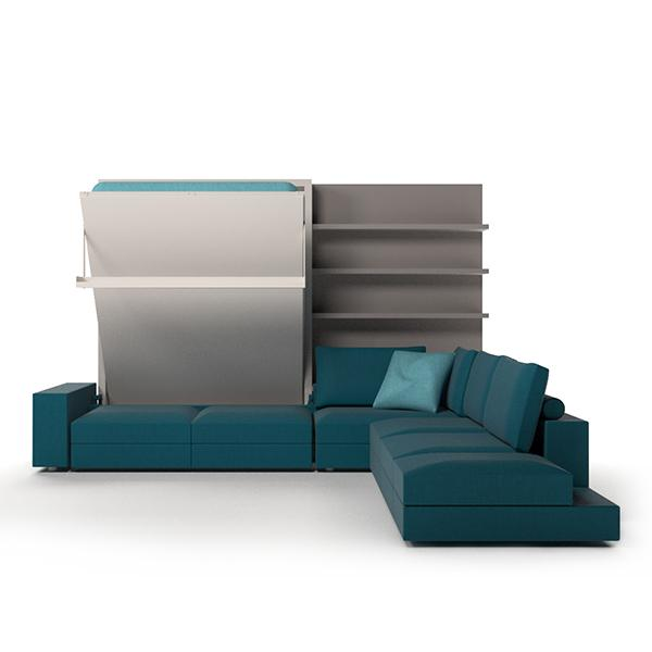 Tango Componibile vertical bed with sofa and bookcase